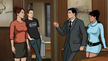 "ARCHER: Episode 9, Season 6 ""Pocket Listing"" (Airing Thursday, March 5, 10:00 PM e/p) Slater has the gang swindle the Durhani royal family and Gillette lends a hand. Pictured: (L-R) Cheryl Tunt (voice of Judy Greer), Slater (voice of Christian Slater), Sterling Archer (voice of H. Jon Benjamin), Lana Kane (voice of Aisha Tyler). CR: FX"